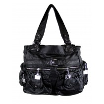 Nina Double Zipster Medium Satchel Handbag, Black