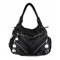 Berry 5 Zipster Medium Satchel Handbag, Black