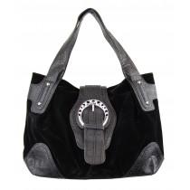 Halle Suede Shoulder Bag, Brown