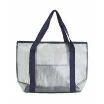 Practical PVC and Mesh Beach Tote Bag, Navy