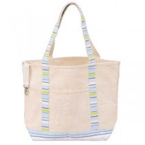 Deluxe Canvas Shopping Tote, Blue