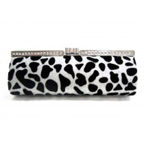 Keeping Sandra in Amazing Shape Frame Clutch, Leopard Sliver/Black