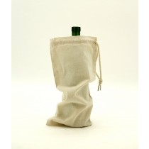 Cotton Canvas Drawstring Single Wine Bag, Natural