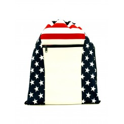 Patriotic Zipper Cinch Drawstring Backpack